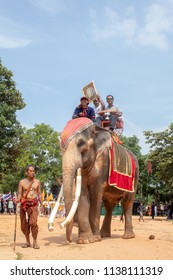 SURIN, THAILAND - OCTOBER 5 2017: The Buddhist Lent Day Festival in the Buddhist temple Wat Phra Jeang  . In Surin from Thailand. Villagers and monks will bring elephants to important festivals.