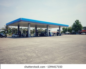 Surin, Thailand-May 3, 2019 : PTT Gas Station Which is the most famous oil company in Thailand