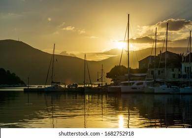 Surise on beautiful Fiscardo bay in Ionian Island Kefalonia, Greece in autumn