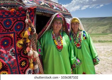 Surkhandarya region, Uzbekistan.May 14, 2017.Women in national dress of Kumkurgan district,Folklore festival spring in Boysun, Uzbekistan