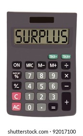 surplus on display of an old calculator on white background