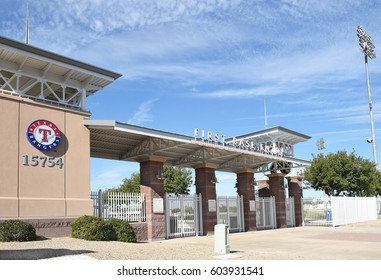 SURPRISE, ARIZONA - NOVEMBER 24, 2016: Surprise Stadium. The facility is the Spring Training home of both the Texas Rangers and Kansas City Royals of MLB's American League.