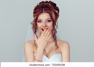 Surprise astonished bride. Closeup portrait woman looking surprised in full disbelief wide open mouth isolated light blue wall background. Positive emotion facial expression body language. Funny girl