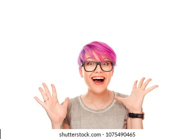 Surprise astonished woman. Closeup portrait woman looking surprised in full disbelief wide open mouth isolated white wall background. Positive human emotion facial expression body language. Funny girl