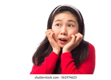 Surprise expression of young girl