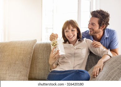 Surprise for you my love. Gift, sofa, home, girlfriend, couple