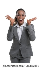 Surprised african business woman portrait isolated on white background
