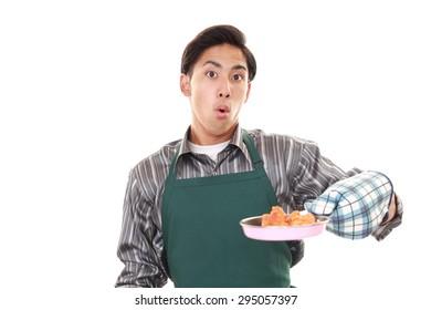 Surprised Asian man