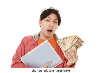 Surprised Asian man witih money