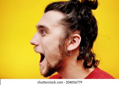 Surprised bearded man, profile