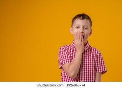 surprised boy, covering his mouth with his hand, stands on a yellow background. child does not want to talk, he learned a secret. The problem with the speech. Delayed speech development. Profanity.