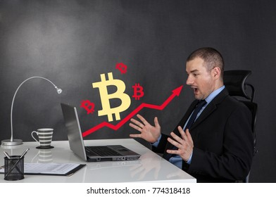 Surprised businessman. Business arrow chart of Bitcoin growth.