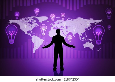 Surprised businessmans silhouette on abstract purple background with world map
