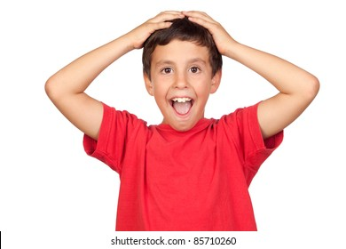 Surprised child isolated on a over white background