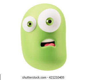 Surprised Emoticon Character Expression. 3d Rendering.