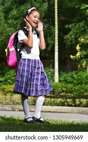 Surprised Female Student School Girl Wearing Uniform