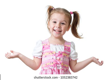 Surprised funny child girl isolated on white background