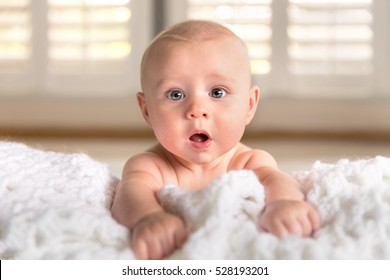 Surprised funny expression cute puffy chubby cheeks big blue eyes infant child in crib