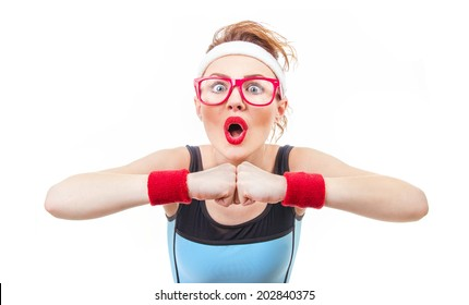 Surprised funny fitness woman ready for gym, isolated on white background