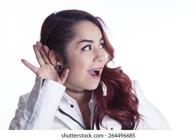 Surprised girl on white background