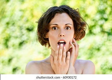 Surprised girl opened mouth.