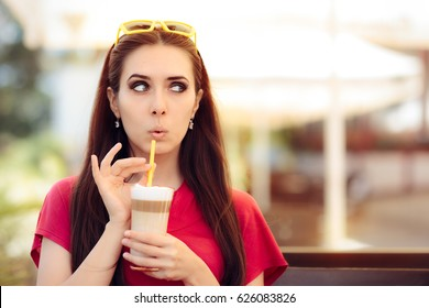 Surprised Girl with Summer Coffee Drink - Funny expressive woman holding a caffeine beverage in three colors