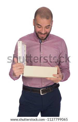 4accf3ea05c31 Surprised Happy Man Unboxing Gift Box Stock Photo (Edit Now ...