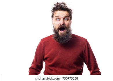 surprised man with disheveled  hair and beard on white backround