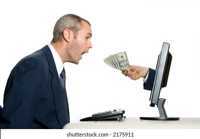 surprised man getting money from the internet