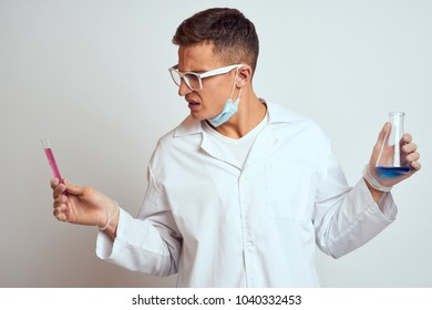 surprised man, glasses, liquid, bulb, doctor