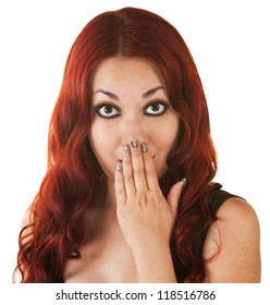 Surprised Mexican woman with red hair covering her mouth