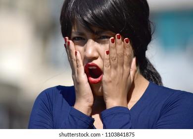 Surprised Minority Female Woman Wearing A Wig