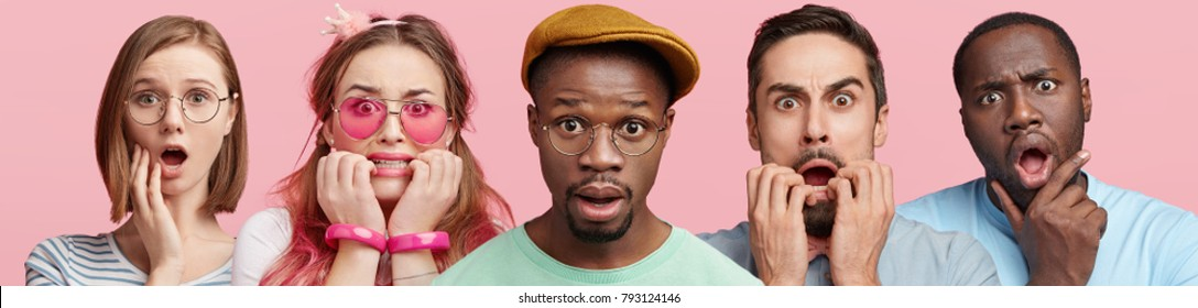 Surprised and nervous multiethnic people look directly into camera, being horrified as finds out some news, isolated over pink background. Worried people pose in studio. Dark skinned male and friends