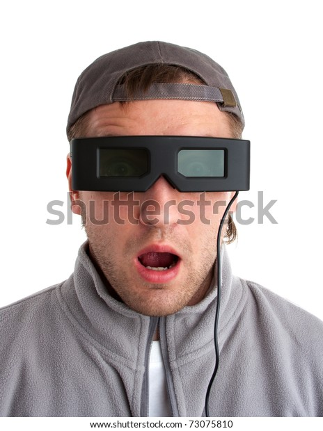 Surprised player with 3-D glasses. Isolated on white