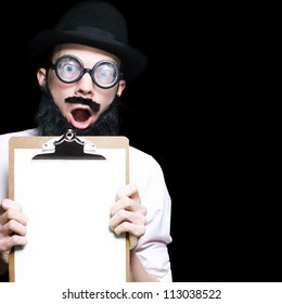Surprised Professor Holding A Clipboard With A Flabberghasted Look Of Shear Shock On Dark Studio Background