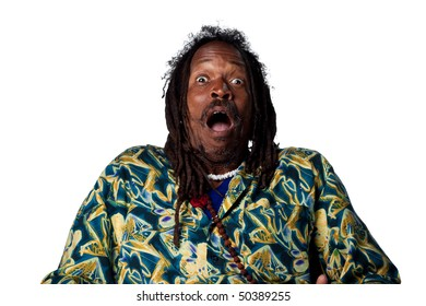 Surprised reaction from Rastafarian man, isolated images