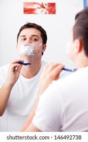 Surprised real men shaving.