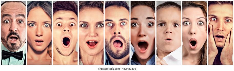 Surprised shocked people. Human emotions reaction