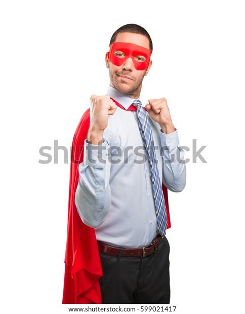 Surprised super businessman celebrating