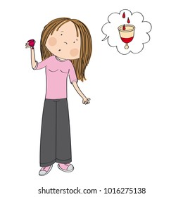 Surprised teenage girl or young woman standing and holding menstrual cup wondering how it collets menstrual blood inside of her body - original hand drawn illustration