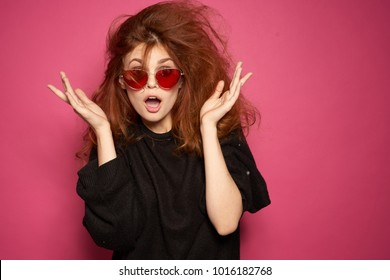 Surprised woman with disheveled hair