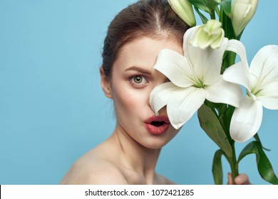 surprised woman with flowers, beauty