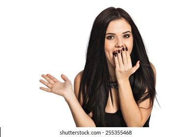Surprised woman holding hand in front open mouth. Portrait of gorgeous white caucasian female model isolated on white background.