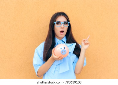 Surprised Woman with Piggy Bank thinking what to Invest in. Funny financial expert making plans to save money