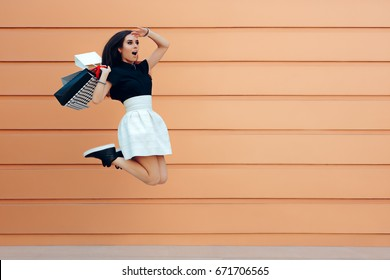 Surprised Woman Running With Shopping Bags in Summer Sale Season - Funny shopaholic girl looking for the best discounts