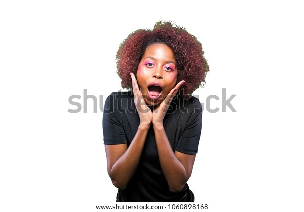 surprised young black girl