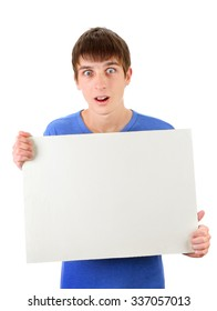 Surprised Young Man with Blank Board Isolated on the White Background