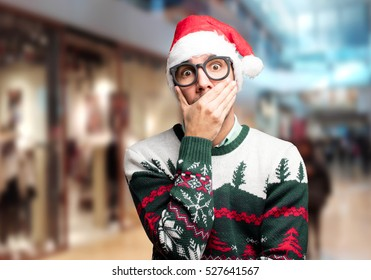 Surprised young man at Christmas