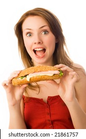 surprised young woman with a hot-dog isolated against white background