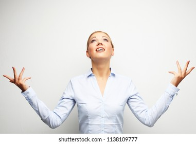 Surprising business woman portrait  over white background